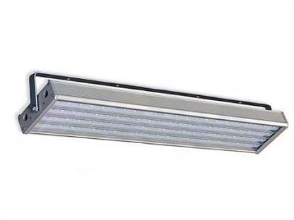 Anwendungsbeispiel aufgehängte LED Leuchte mit Deckenbefestigung aus Komponenten der Serie SVETOCH für Werk- und Hallen-Beleuchtung